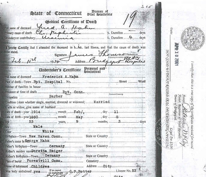 FREDERICK A. HAHN--CERTIFICATE OF DEATH